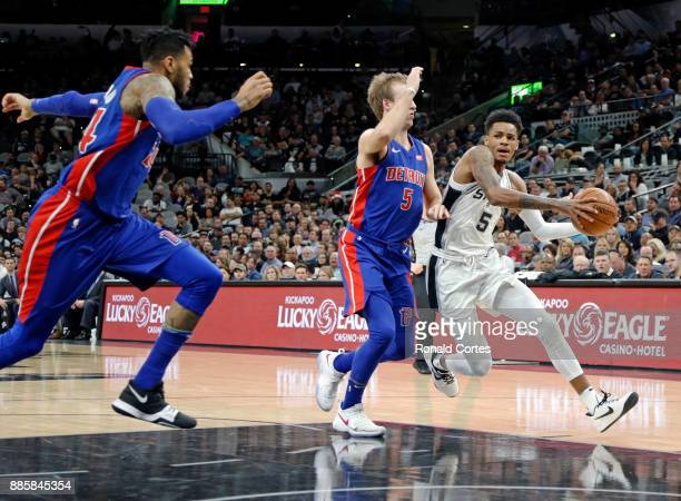 Dejounte Murray of the San Antonio Spurs tries to drive past Luke Kennard of the Detroit Pistons at ATT Center on December 04 2017 in San Antonio...