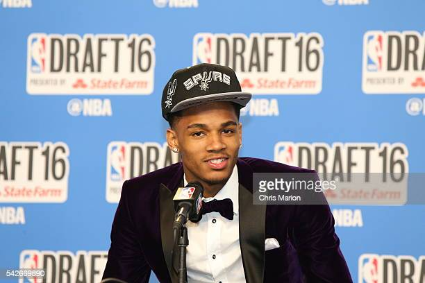 Dejounte Murray speaks with the media after being selected number twentynine overall by the San Antonio Spurs during the 2016 NBA Draft on June 23...