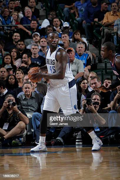 DeJuan Blair of the Dallas Mavericks looks to pass the ball against the Atlanta Hawks on October 30 2013 at the American Airlines Center in Dallas...