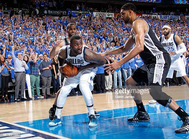 DeJuan Blair of the Dallas Mavericks secures a clutch rebound against the San Antonio Spurs in Game Six of the Western Conference Quarterfinals...