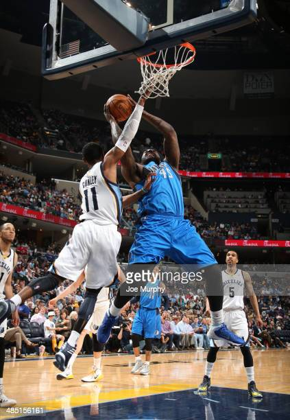 DeJuan Blair of the Dallas Mavericks shoots against the Memphis Grizzlies on April 16 2014 at FedExForum in Memphis Tennessee NOTE TO USER User...