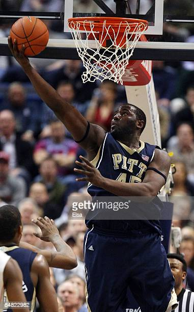 DeJuan Blair of the Pittsburgh Panthers goes up for a shot in the first half against the Connecticut Huskies on February 16 2009 at XL Center in...