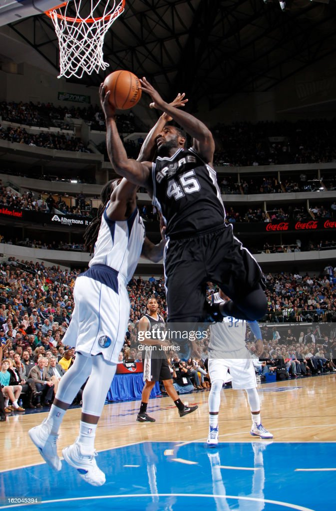 <a gi-track='captionPersonalityLinkClicked' href=/galleries/search?phrase=DeJuan+Blair&family=editorial&specificpeople=4649451 ng-click='$event.stopPropagation()'>DeJuan Blair</a> #45 of the San Antonio Spurs drives to the basket against the Dallas Mavericks on January 25, 2013 at the American Airlines Center in Dallas, Texas.