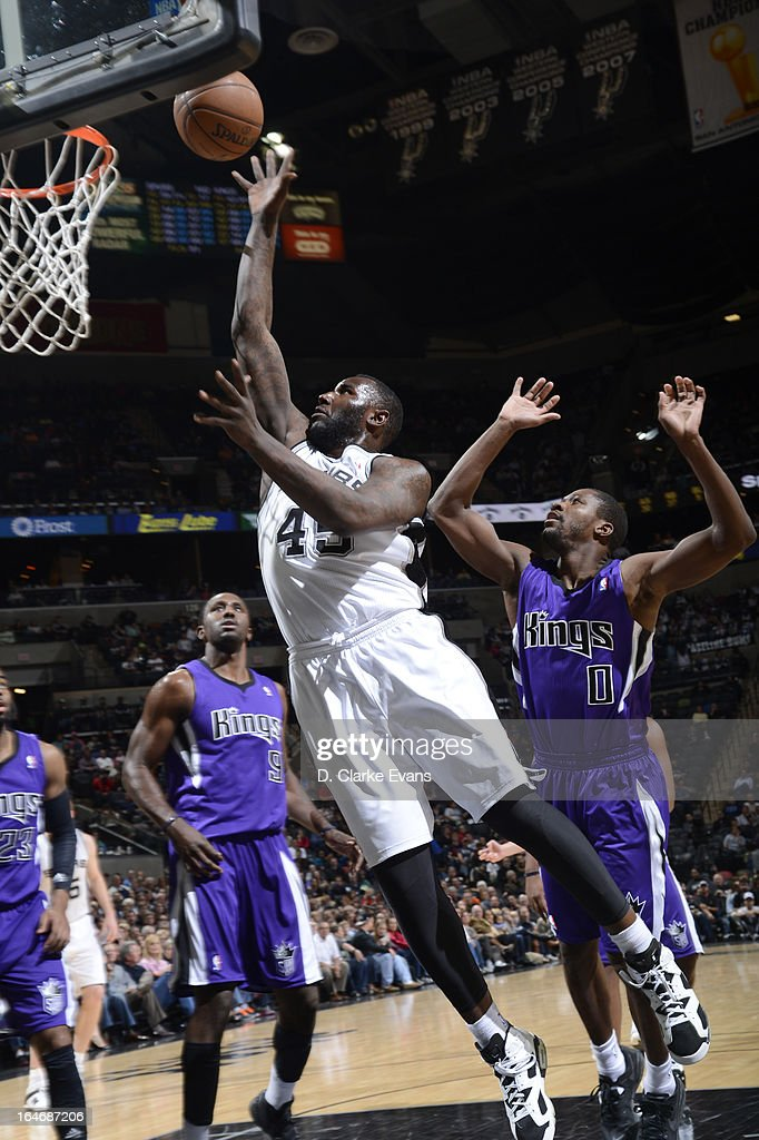 DeJuan Blair #45 of the San Antonio Spurs drives to the basket against the Sacramento Kings on March 1, 2013 at the AT&T Center in San Antonio, Texas.