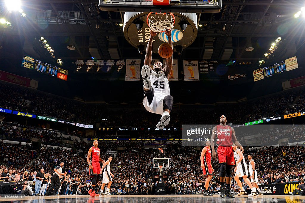 <a gi-track='captionPersonalityLinkClicked' href=/galleries/search?phrase=DeJuan+Blair&family=editorial&specificpeople=4649451 ng-click='$event.stopPropagation()'>DeJuan Blair</a> #45 of the San Antonio Spurs dunks against the Miami Heat during Game Three of the 2013 NBA Finals on June 11, 2013 at AT&T Center in San Antonio, Texas.