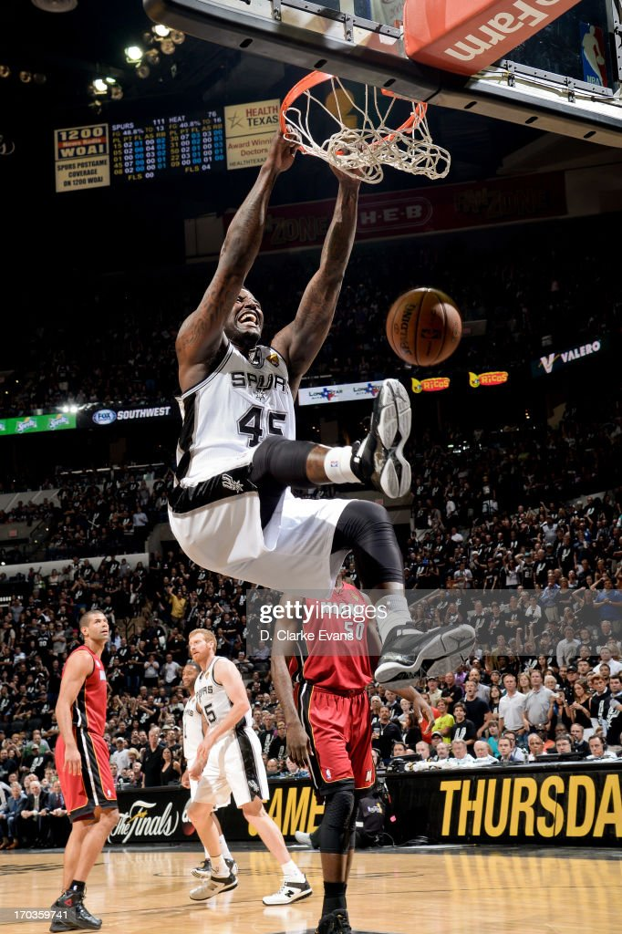 DeJuan Blair #45 of the San Antonio Spurs dunks in the fourth quarter against the Miami Heat during Game Three of the 2013 NBA Finals on June 11, 2013 at AT&T Center in San Antonio, Texas.