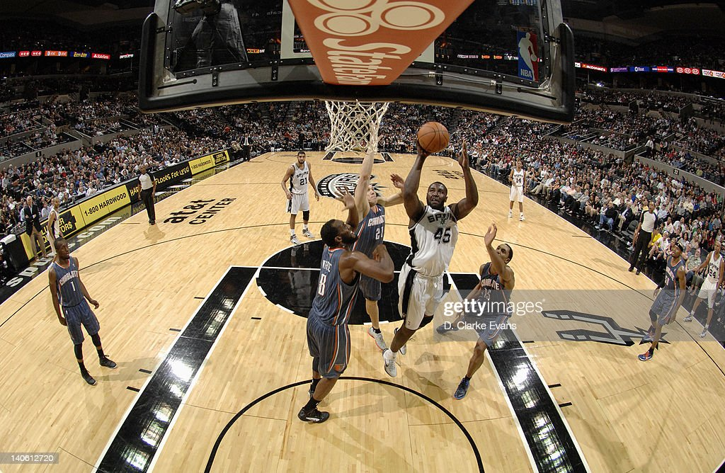 <a gi-track='captionPersonalityLinkClicked' href=/galleries/search?phrase=DeJuan+Blair&family=editorial&specificpeople=4649451 ng-click='$event.stopPropagation()'>DeJuan Blair</a> #45 of the San Antonio Spurs goes to the basket during the game against the Charlotte Bobcats at the AT&T Center on March 2, 2012 in San Antonio, Texas.