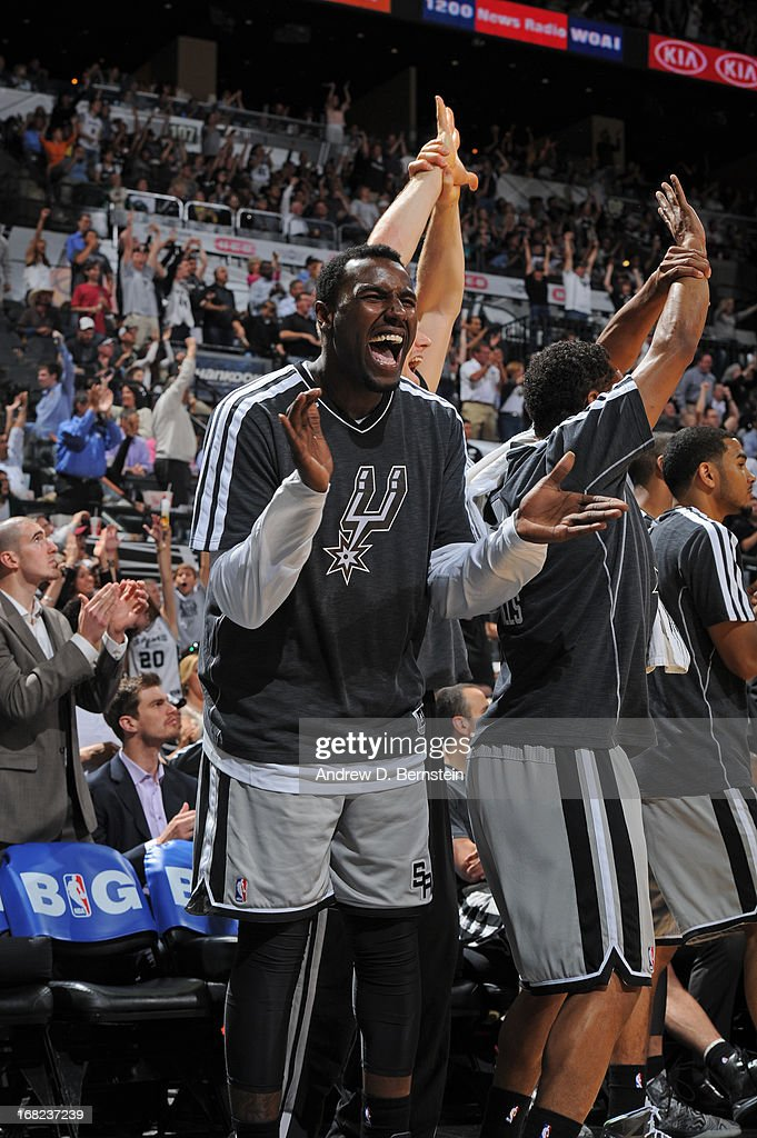 <a gi-track='captionPersonalityLinkClicked' href=/galleries/search?phrase=DeJuan+Blair&family=editorial&specificpeople=4649451 ng-click='$event.stopPropagation()'>DeJuan Blair</a> #45 of the San Antonio Spurs reacts to a play during the game against the Golden State Warriors in Game One of the Western Conference Semifinals during the 2013 NBA Playoffs on May 6, 2013 at the AT&T Center in San Antonio, Texas.