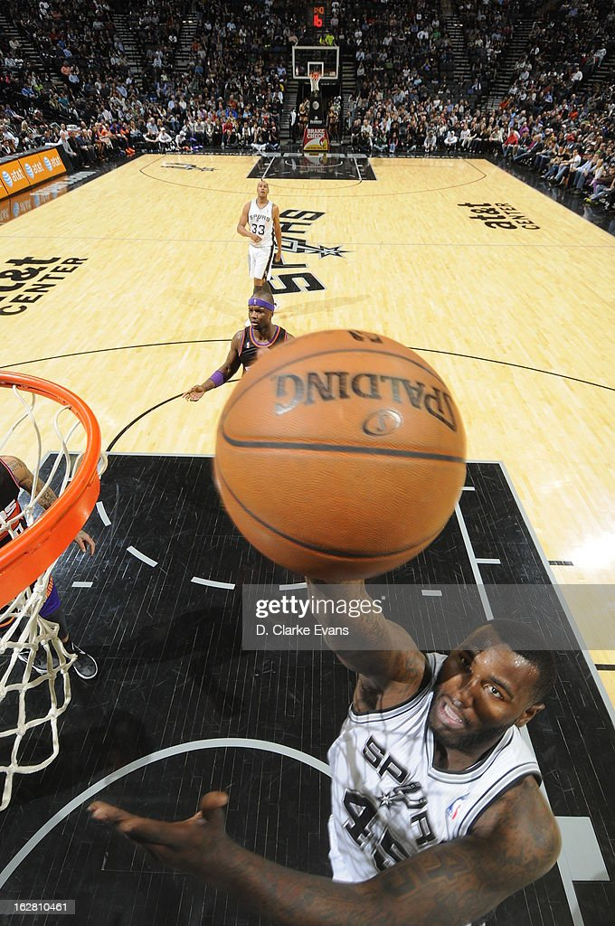 <a gi-track='captionPersonalityLinkClicked' href=/galleries/search?phrase=DeJuan+Blair&family=editorial&specificpeople=4649451 ng-click='$event.stopPropagation()'>DeJuan Blair</a> #45 of the San Antonio Spurs shoots against the Phoenix Suns on February 27, 2013 at the AT&T Center in San Antonio, Texas.