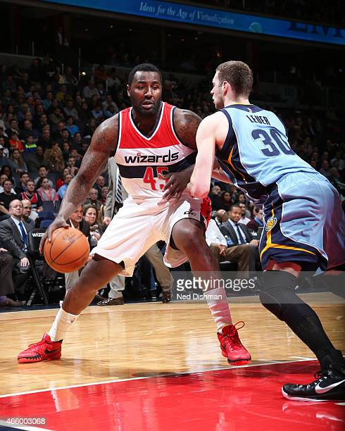 DeJuan Blair of the Washington Wizards handles the ball against the Memphis Grizzlies on March 12 2015 at Verizon Center in Washington DC NOTE TO...