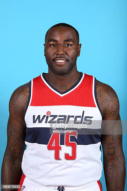 DeJuan Blair of the Washington Wizards poses for a photo during 2015 media day at the Verizon Center on May 18 2015 in Washington DC NOTE TO USER...