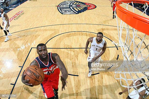 DeJuan Blair of the Washington Wizards shoots the ball against the New Orleans Pelicans on December 11 2015 at the Smoothie King Center in New...
