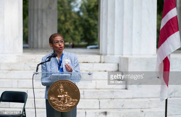 Del Eleanor Holmes Norton DDC speaks at a press conference at the DC War Memorial on DC residents having no vote on the use of military force in Syria