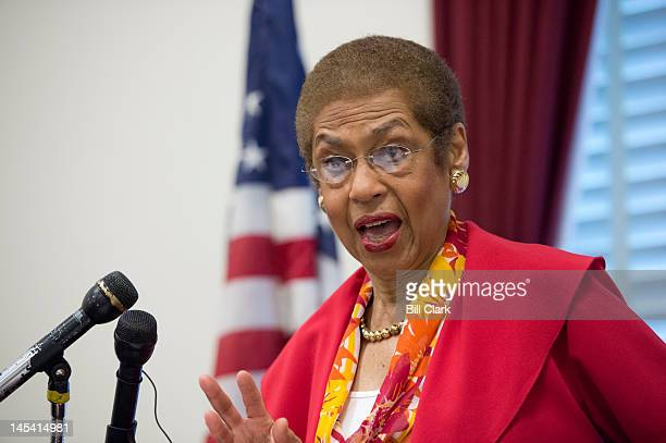 Del Eleanor Holmes Norton DDC speaks during the news conference to oppose 'Republican riders targeting DC's homerule authority' on Tuesday May 29 2012