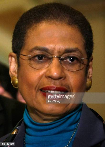 S Del Eleanor Holmes Norton listens during a news conference on Capitol Hill February 26 2009 in Washington DC The US Senate earlier passed the...