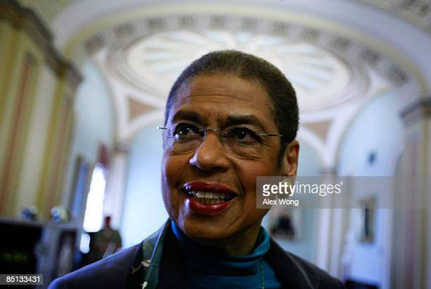 S Del Eleanor Holmes Norton smiles answers questions from reporters after a news conference on Capitol Hill February 26 2009 in Washington DC The US...