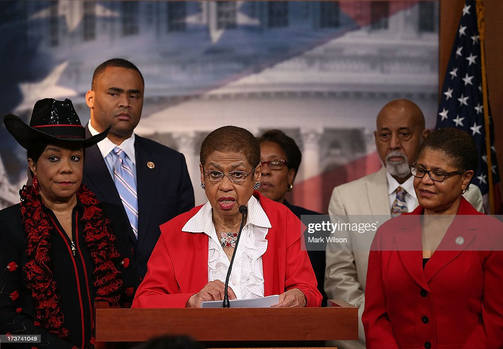Del. Eleanor Holmes Norton (D-DC) (C) speaks about black judicial nominees while flanked by (L-R) Rep. Fredrica Wilson (D-FL), Rep. Marc Veasey (D-TX), Rep. Maricia Fudge (D-OH), Rep. Alcee Hastings (D-FL), Karen Bass (D-CA) during a news conference on Capitol Hill July 17, 2013 in Washington, DC. The members of the Congressional Black Caucus say that Republican Senators are holding up the confirmation of several African American judicial nominees.
