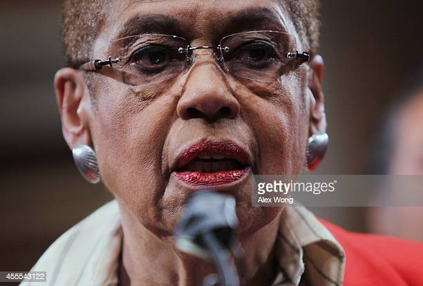 S Del Eleanor Holmes Norton speaks during a news conference September 16 2014 on Capitol Hill in Washington DC The group Change the Mascot held a...