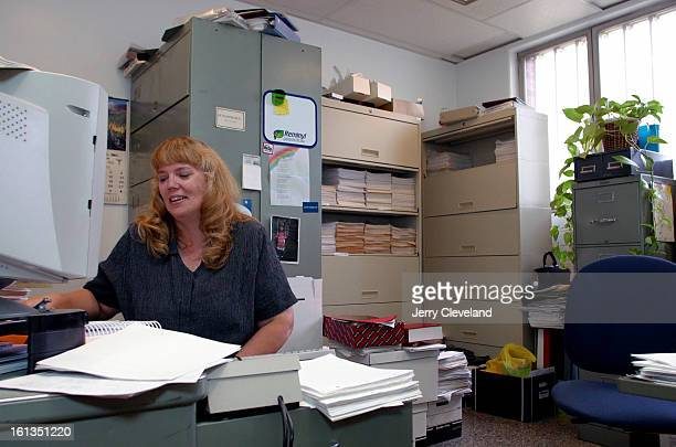 SEPTEMBER 3 2003 Del Norte Colo Janet Whitaker <cq> medical records manager works in her crowded office at Rio Grande Hospital <cq> in Del Norte CO...