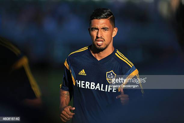 J DeLaGarza of Los Angeles Galaxy warms up prior to the MLS match against Seattle Sounders FC at StubHub Center on October 19 2014 in Los Angeles...