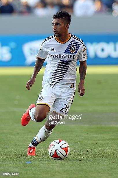 J DeLaGarza of the Los Angeles Galaxy dribbles the ball against the Philadelphia Union in the second half of the MLS match at StubHub Center on May...
