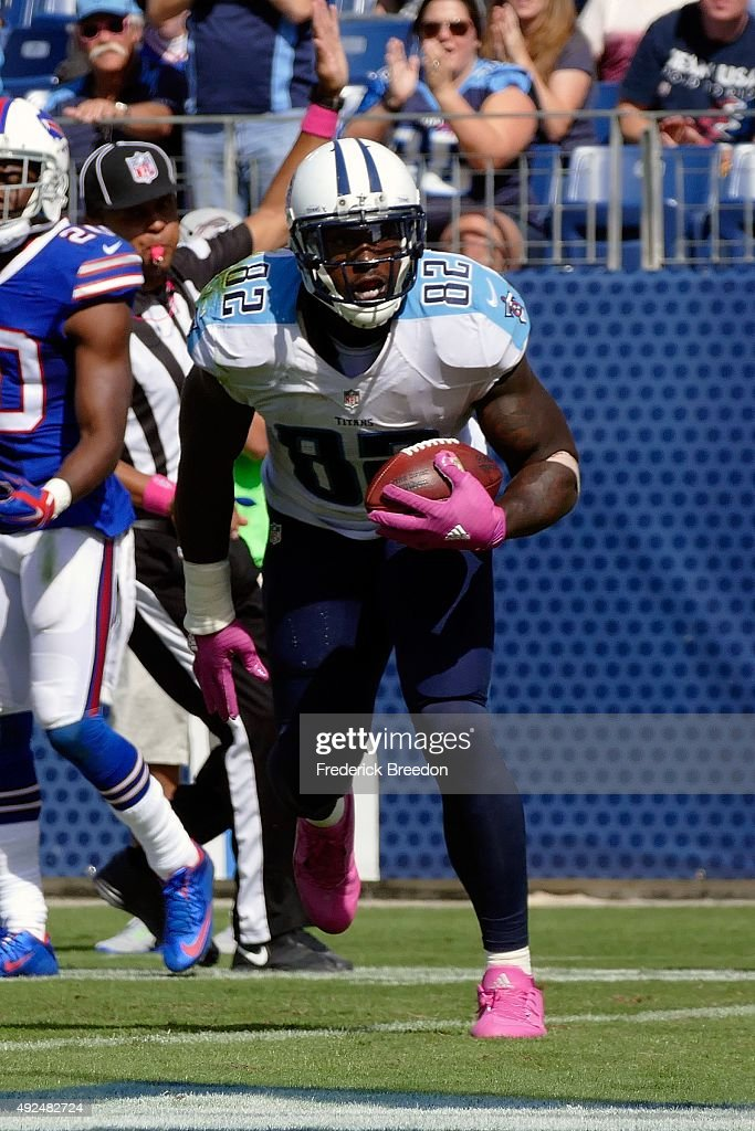Delanie Walker of the Tennessee Titans plays against the Buffalo Bills during a game at Nissan Stadium on October 11 2015 in Nashville Tennessee