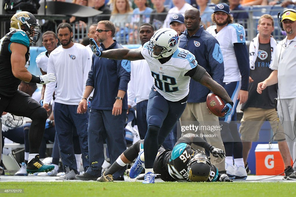 Delanie Walker of the Tennessee Titans plays against the Jacksonville Jaguars at LP Field on October 12 2014 in Nashville Tennessee