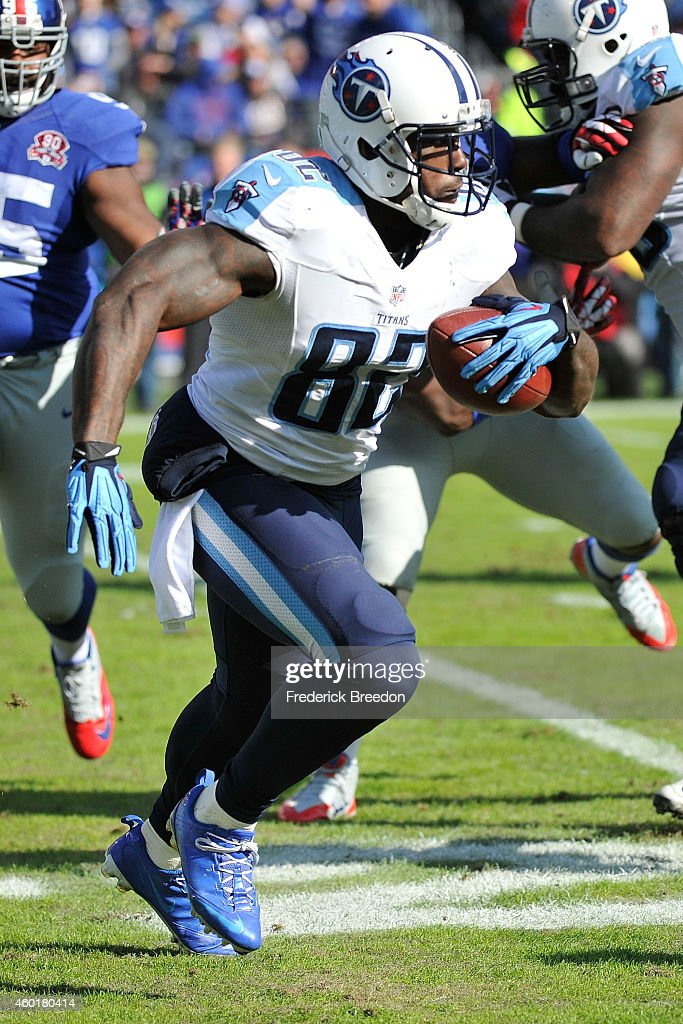 Delanie Walker of the Tennessee Titans plays against the New York Giants at LP Field on December 7 2014 in Nashville Tennessee