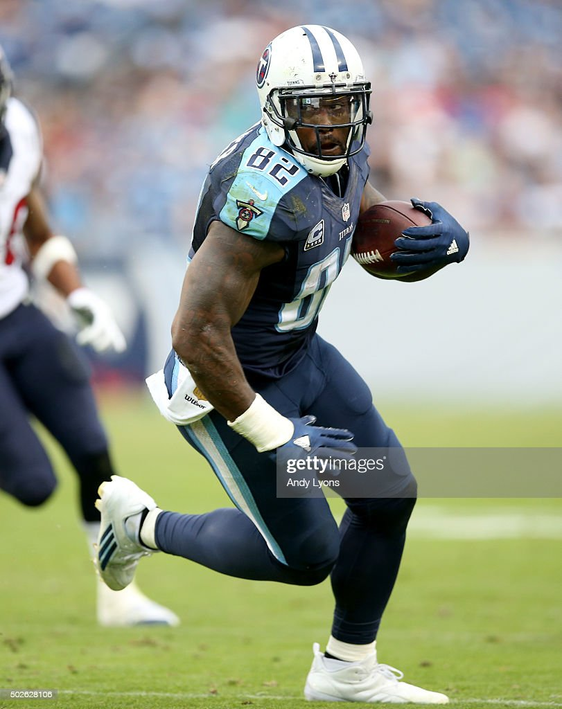 Delanie Walker of the Tennessee Titans runs with the ball against the Houston Texans at LP Field on December 27 2015 in Nashville Tennessee