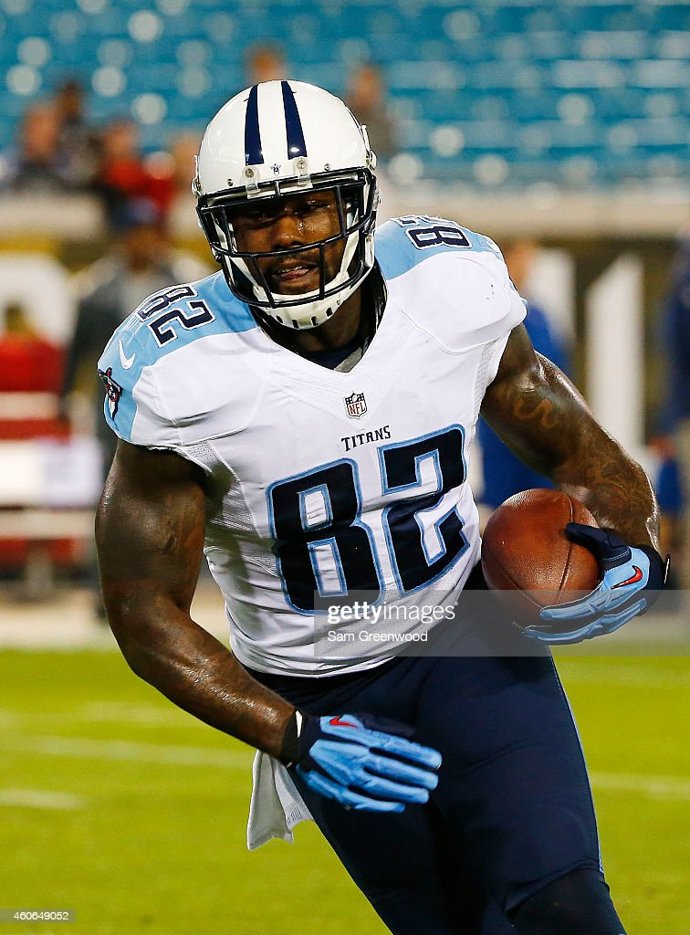 Delanie Walker of the Tennessee Titans warms up prior to their game against the Jacksonville Jaguars at EverBank Field on December 18 2014 in...