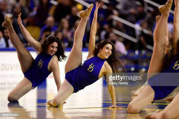 Delaware Fightin Blue Hens Dancers perform during a timeout as the Delaware Fightin Blue Hens hosts the William Mary Tribe during the second half at...