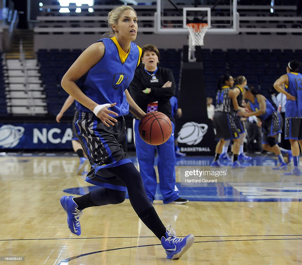 Delaware's Elena Delle Donne is watched by head coach Tina Martin during practice at the Webster Bank Arena at Harbor Yard in Bridgeport, Connecticut, Friday, March 29, 2013.