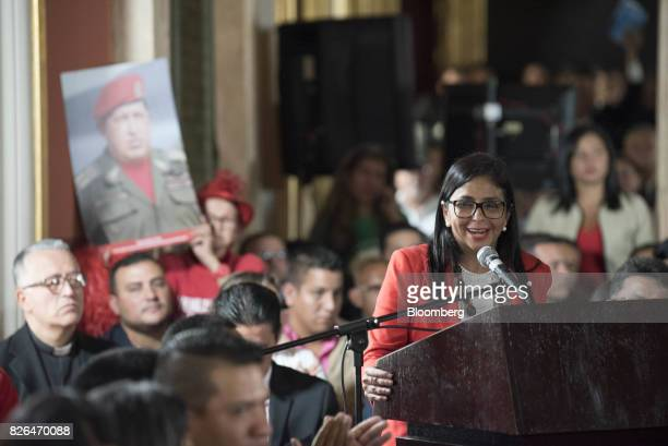 Delcy Rodriguez left speaks while accepting her new post as President of the Constituent Assembly in Caracas Venezuela on Friday Aug 4 2017...