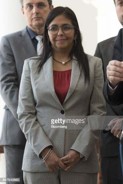 Delcy Rodriguez president of the Constituent Assembly arrives to a joint news conference with the Parlasur delegation the parliament of Mercosur...