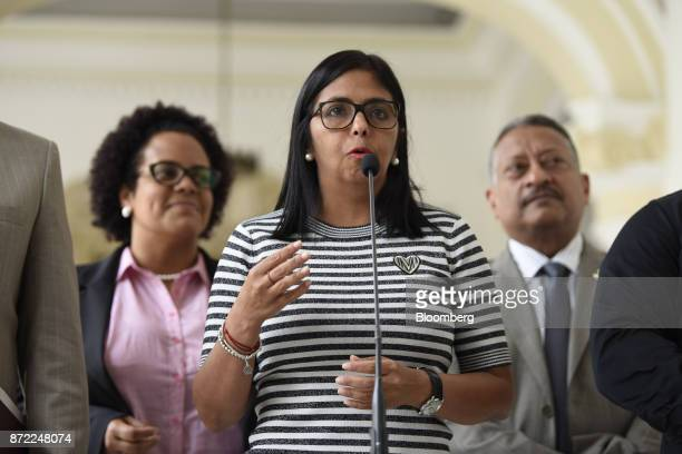 Delcy Rodriguez president of the Constituent Assembly center speaks during a press conference at the Yellow House in Caracas Venezuela on Thursday...