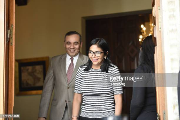 Delcy Rodriguez president of the Constituent Assembly right and Maikel Moreno president of the Supreme Court of Venezuela arrive to a press...