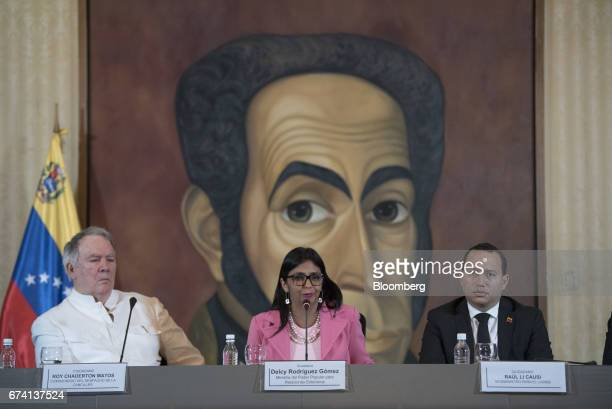 Delcy Rodriguez Venezuela's minister of foreign affairs center speaks during a press conference in Caracas Venezuela on Thursday April 27 2017 While...