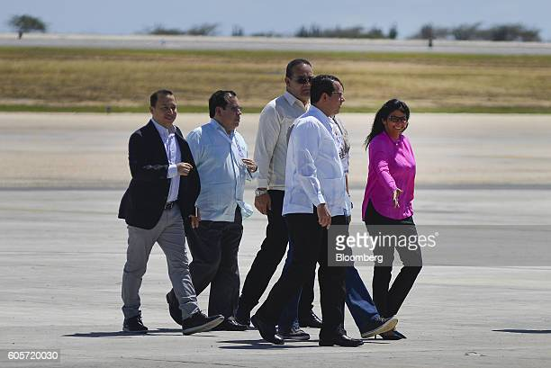 Delcy Rodriguez Venezuela's minister of foreign affairs left arrives at the Santiago Marino Caribbean International Airport for the NonAligned...