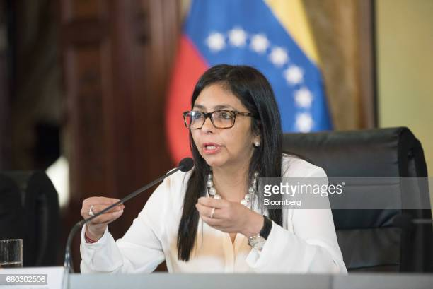 Delcy Rodriguez Venezuela's minister of foreign affairs speaks during a press conference in Caracas Venezuela on Wednesday March 29 2017 The...