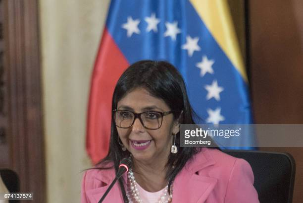 Delcy Rodriguez Venezuela's minister of foreign affairs speaks during a press conference in Caracas Venezuela on Thursday April 27 2017 While largely...
