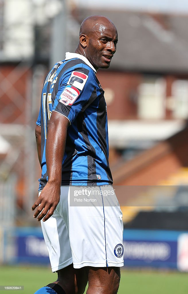 <a gi-track='captionPersonalityLinkClicked' href=/galleries/search?phrase=Dele+Adebola&family=editorial&specificpeople=792731 ng-click='$event.stopPropagation()'>Dele Adebola</a> of Rochdale in action during the npower League Two match between Rochdale and Northampton Town at Spotland Stadium on August 18, 2012 in Rochdale, England.