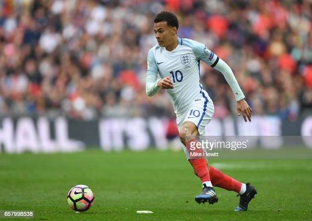 Dele Ali of England in action during the FIFA 2018 World Cup Qualifier between England and Lithuania at Wembley Stadium on March 26 2017 in London...