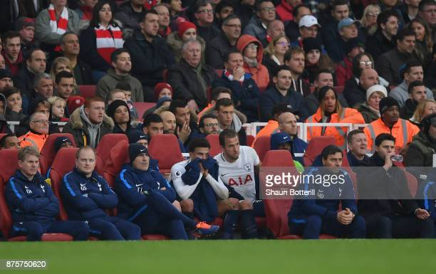 Dele Alli and Harry Kane of Tottenham Hotspur Tottenham Hotspur are substituted during the Premier League match between Arsenal and Tottenham Hotspur...