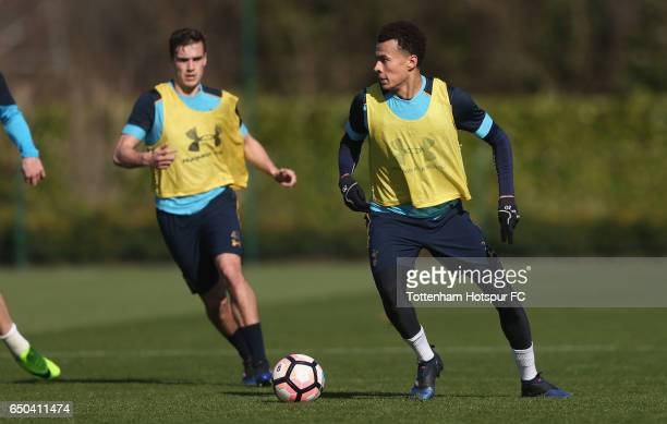 Dele Alli and Harry Winks of Tottenham during the Tottenham Hotspur training session at Tottenham Hotspur Training Centre on March 9 2017 in Enfield...