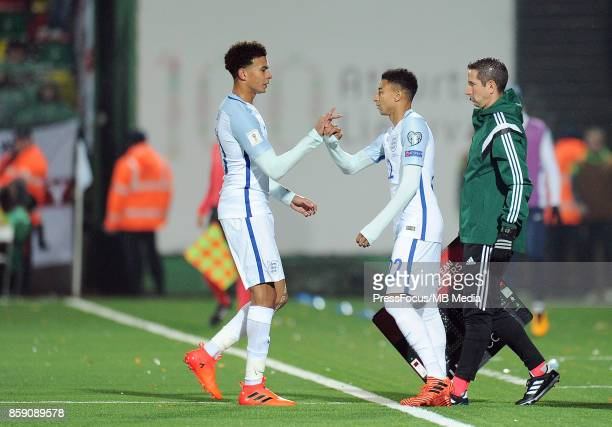 Dele Alli and Jesse Lingard of England in action during the FIFA 2018 World Cup qualifier between Lithuania and England on October 8 2017 in Vilnius...