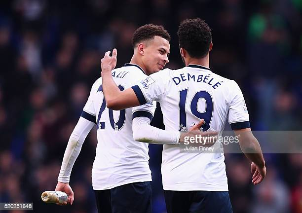 Dele Alli and Mousa Dembele of Tottenham Hotspur celebrate victory after during the Barclays Premier League match between Tottenham Hotspur and...