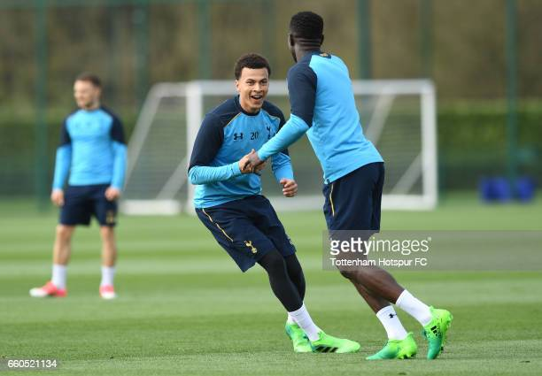 Dele Alli and Moussa Sissoko of Tottenham Hotspur during a training session on March 30 2017 in Enfield England