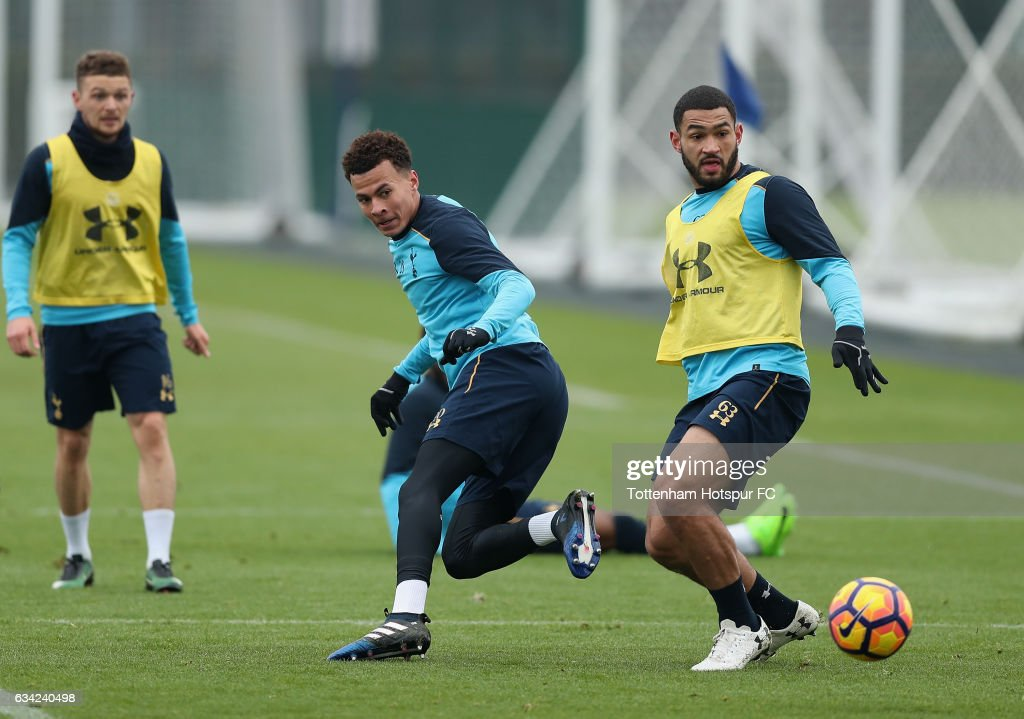 Dele Alli battles with Cameron Carter-Vickers during the Tottenham Hotspur Training Session on February 8, 2017 in Enfield, England.