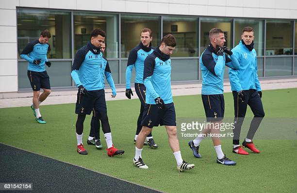 Dele Alli Harry Kane Ben Davies Toby Alderweireld and Kevin Wimmer of Tottenham during a Tottenham Hotspur Training session at Tottenham Hotspur...