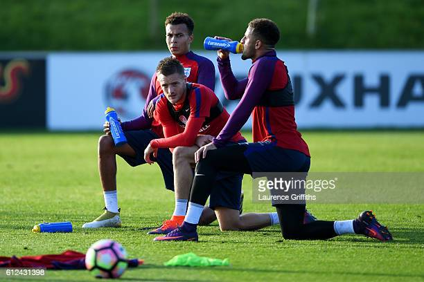 Dele Alli Jamie Vardy and Kyle Walker take part in an England training session at St George's Park on October 4 2016 in BurtonuponTrent England